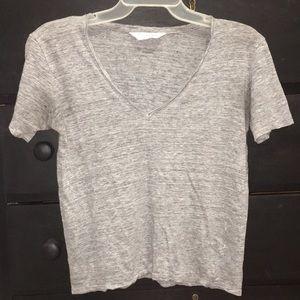 Grey linen Everlane vneck T-shirt